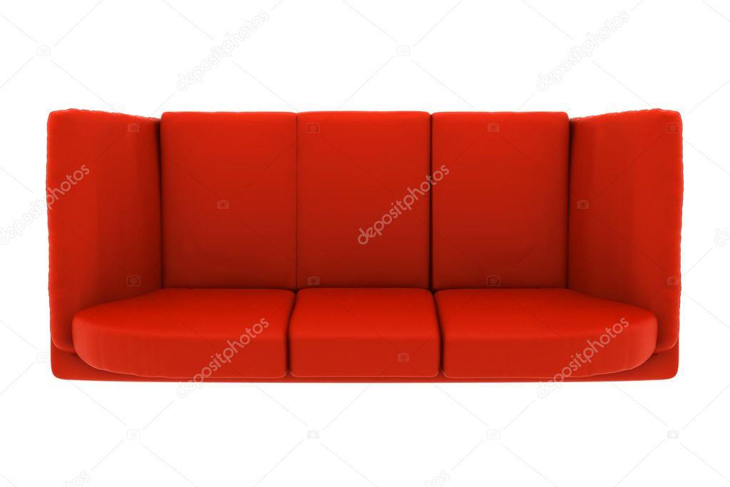 Moderne rood lederen bank geu00efsoleerd op witte achtergrond. bovenaanzicht u2014 Stockfoto u00a9 tiler84 ...