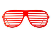 Red plastic shutter shades sunglasses isolated on white background — Stock Photo
