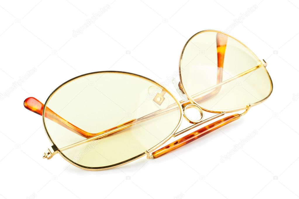 Yellow sunglasses isolated on white background — Stock Photo #6128368