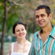 Lovely couple in autumn park — Stockfoto