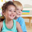 Portrait happy kids in kindergarten — Stock Photo