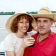 Elderly happy couple onboard the yacht — Stock Photo