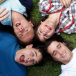 Young guys and girls lying on grass - Stock Photo