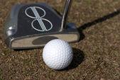 Pallina da golf e un putter — Foto Stock