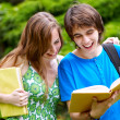 College or university students studying outdoors — Stock Photo #6378257