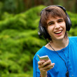 Happy teenage boy in headphones — Stock Photo