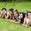 Stock Photo: Happy group of friends smiling outdoors in a park