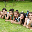 Happy group of friends smiling outdoors in a park — Stock Photo #6379062