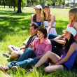 Happy group of friends smiling outdoors in a park — Stock Photo #6379684