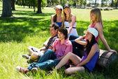 Feliz grupo de amigos sorrindo ao ar livre em um parque — Fotografia Stock
