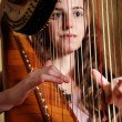 Female musician playing the harp — Stock Photo