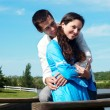 Young couple playing around in the nature — Stock Photo