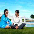 Young couple having a rest on the nature — Stock fotografie