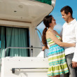 Royalty-Free Stock Photo: Young married couple having a rest on the yacht