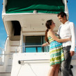 Young married couple having a rest on the yacht — Stok fotoğraf