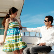 Young married couple having a rest on the yacht — 图库照片