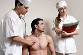 Physicians emergency with the patient — Stock Photo