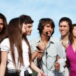 Stock Photo: Group of young guys and girls having fun on the nature