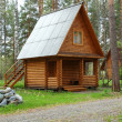 Wooden small house in a wood — Stock Photo