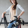 Girl with a videocamera — Stock Photo