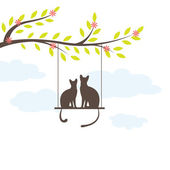 Two Black cat on swing. Vector Illuatration — Stock Vector