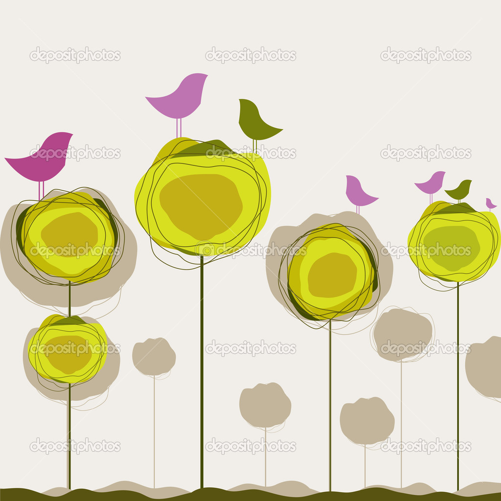 Background with birds and tree for you. Vector illustration — Imagen vectorial #5585422