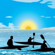 Kayaking on lake - Stock Vector