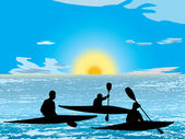 Kayaking on lake — Vector de stock