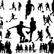 Football silhouettes — Stock Vector