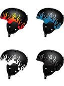 Flame on snowboard helmet — Stock Vector