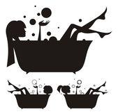 Meisjes in het bad. — Stockvector