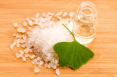 Färska lämnar ginko biloba eterisk olja och havssalt - skönhet tr — Stockfoto