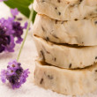 Handmade Soap With Fresh Lavender Flowers And Bath Salt - Foto de Stock  