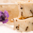 Handmade Soap With Fresh Lavender Flowers And Bath Salt — Stock Photo
