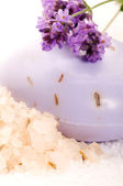Soap With Fresh Lavender Flowers And Bath Salt — Stock Photo