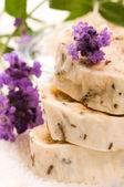 Handmade Soap With Fresh Lavender Flowers And Bath Salt — Stock Photo