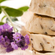 Handmade Soap With Fresh Lavender Flowers And Bath Salt — Stock Photo #6044478