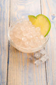 Tapioca pearls with lime. white bubble tea ingredients — Stock Photo