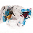 Crumpled paper isolated over white - ストック写真