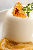 Vanilla Panna Cotta Dessert with lemon and fresh herbs — Stock Photo
