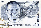 Stamp With Yuri Gagarin — Stock Photo