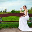 Single Bride Drinking Alcohol — Stock Photo