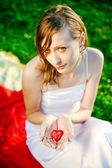 Woman Giving Her Heart — Stock Photo