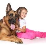 Young girl and German shepherd dog — Stock Photo