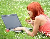 Picknick med bärbar dator 2 — Stockfoto