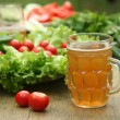 Stock Photo: Vegetables and beer