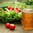 Vegetables and beer — Stock Photo