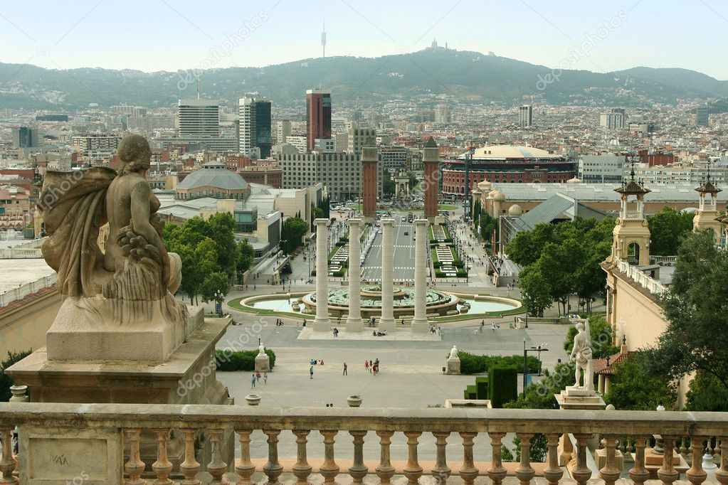 Barcelona view from Montjuic mountain. Spain — Stock Photo #6473260