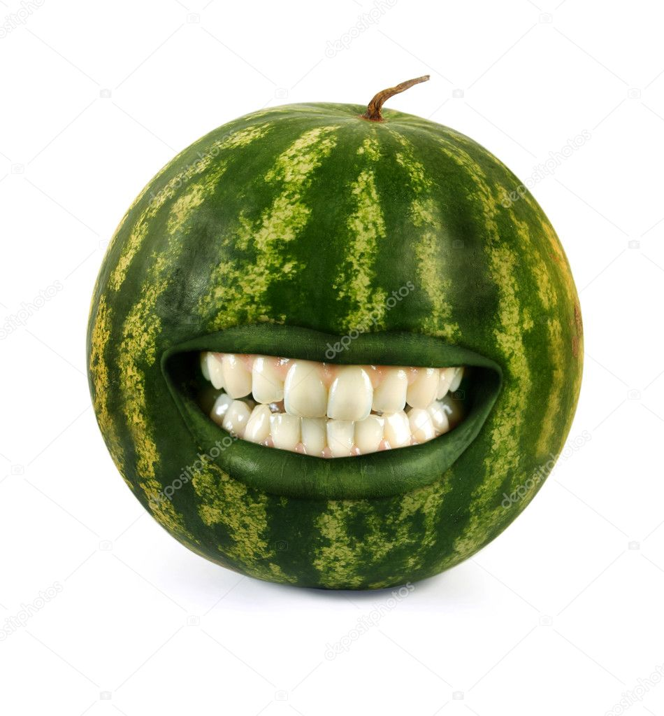 Funny laughing watermelon on white  Stock Photo #6489784