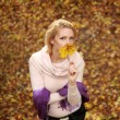 Woman with leaf 2 — Stockfoto